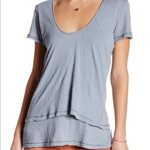 NWT $58 Free People Layered Silver Scoopneck Tee